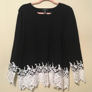 INC 1X black long sleeve top